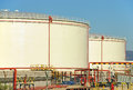 Oil storage tanks used to store fuel in an industrial complex Stock Image