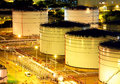 Oil tank at night in cargo service Stock Image
