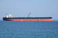 Oil tanker moored after having downloaded the crude Stock Images