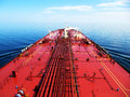 Oil tanker is proceeding through the sea Stock Images