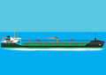 Oil tanker ship a green and black travelling at speed Royalty Free Stock Photos