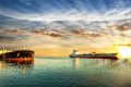 Oil tanker ships riding at anchor Royalty Free Stock Photo