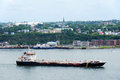 Oil tanker on the st lawrence quebec city canada july large river in front of quebec city twenty five million tonnes of crude Royalty Free Stock Photos