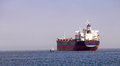 Oil tankers anchored in the columbia rive river near astoria oregon Royalty Free Stock Photography