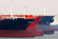 Oil tankers empty docking in rotterdam holland Stock Photos