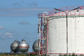 Oil tanks refinery industry zone Stock Images