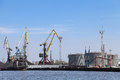 Oil terminal loading on quay in kaliningrad city Stock Images