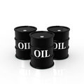 Oil three barrels on white background Stock Photo