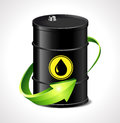Oil trading concept barrel with one green arrow Royalty Free Stock Images