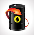 Oil trading concept barrel with one red arrow Stock Image