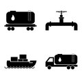 Oil transportation icons set. Petroleum and gas industry. Vector