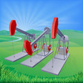 Oil well pumpjacks illustration of also known as nodding donkeys horsehead pumps dinosaurs or by various other names Royalty Free Stock Images