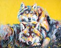 Oil wolf portrait painting in multicolored tones. Royalty Free Stock Photo