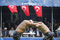 Oil wrestling in Turkey Stock Photos