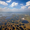 Oilfield on swamp top view aerial of impassable area Royalty Free Stock Image