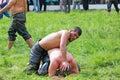 Oily wrestling Stock Image