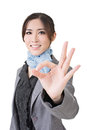 Ok gesture asian business woman give you close up portrait on white background Royalty Free Stock Photos