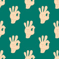 Ok hands success gesture okey yes agreement signal seamless pattern human agree best approval vector.
