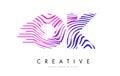 OK O K Zebra Lines Letter Logo Design with Magenta Colors Royalty Free Stock Photo