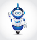 Ok sign in robot shape blue color Stock Photo