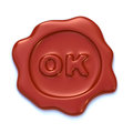 Ok wax seal red with letters on it Stock Photos