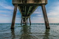 Okaloosa island concrete pier under Royalty Free Stock Photography