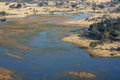 Okavango delta from the sky. Royalty Free Stock Photography