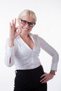 Okay gesture happy smiling business woman with Royalty Free Stock Image