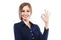 Okay gesture portrait of happy smiling businesswoman with isolated on white background Royalty Free Stock Photography