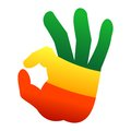 Okay human hand gesture sign in rastafari flag colors Stock Photos