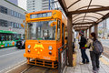 Okayama street car japan november in japan on november only cover a small area in central city day pass Stock Photo