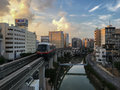 Okinawa monorail yui rail evening is an only transport in naha city japan it s approaching asahibashi station in the Stock Images