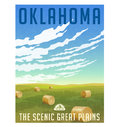 Oklahoma field with round hay bales poster Royalty Free Stock Photo