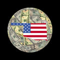 Oklahoma map flag on dollars Royalty Free Stock Photography