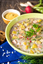Okroshka. Traditional Russian summer cold soup with sausage, vegetables and kvass in bowl on wooden background. Royalty Free Stock Photo