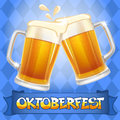 Oktoberfest background celebration vector with two beer mugs Royalty Free Stock Images