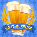 Oktoberfest background celebration vector with two beer mugs Stock Images
