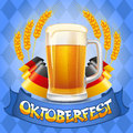 Oktoberfest background celebration vector with two beer mugs Royalty Free Stock Image