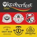 Oktoberfest badge logo and labels set