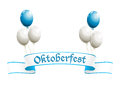 Oktoberfest banner with balloons in traditional colors of bavaria Stock Images