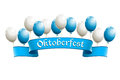Oktoberfest banner with balloons in traditional colors of bavaria Royalty Free Stock Image