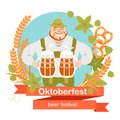 Oktoberfest banner with funny cartoon character in a wreath of barley and hops. A man with a mugs of beer