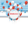 Oktoberfest banner prongs emblem balloons flyer design on the white background german text o zapft is and translate on tap and Stock Photo