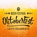 Oktoberfest Beer Festival Vector. Close Up Beer With Foam And Bubbles. Modern Celebration Design.