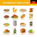 Oktoberfest Beer Food Flat Icons Set