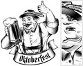 Oktoberfest Beer Holiday Man Germany Glass Foam Thumb Ink Black