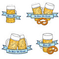 Oktoberfest beer icon set full glass mug label collection Stock Images