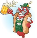 Oktoberfest bratwurst hotdog cartoon character drinking beer a wearing traditional bavarian lederhosen and a large mug of ready Royalty Free Stock Images