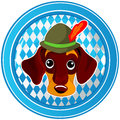 Oktoberfest circle dog button Royalty Free Stock Photo
