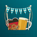 Oktoberfest decoration with bunting german flag beer and pretzels with copy space and transparencies Royalty Free Stock Photo